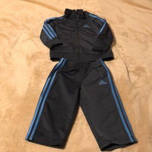 Infants 12M Adidas Track Suit Dark Gray/Light Blue